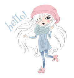 Little girl hello vector image