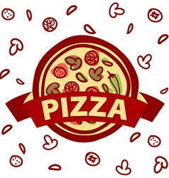 Logo round pizza and ingredients vector