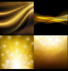 Luxury golden backgrounds set vector