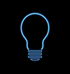 Neon lamp on a black background vector image vector image