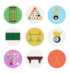 Nine color flat billiards icon set vector