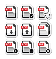 PDF download and upload icons set vector image vector image