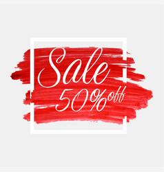 sale 50 percent off lettering on watercolor vector image vector image