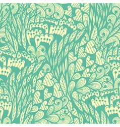 Seamless hand drawn vintage blue doodle pattern vector image vector image