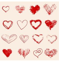 Set of red heart sketch vector