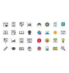 Set of statistics education and study icons vector
