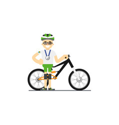 smiling cyclist with mountain bike vector image vector image