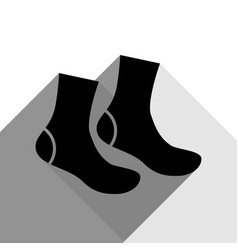 socks sign black icon with two flat gray vector image