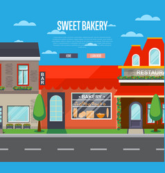 Sweet bakery shop banner in flat design vector