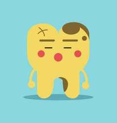 unhappy cartoon tooth character with decay vector image vector image
