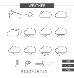 Weather line icons set monochrome thin line vector