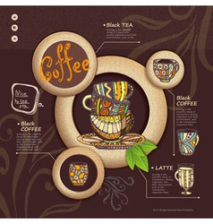 Web site design Decorative cup of coffee vector image vector image