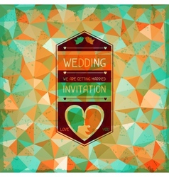 Wedding invitation card in retro style vector image vector image