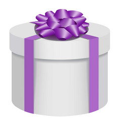 white gift box with a purple bow icon flat style vector image