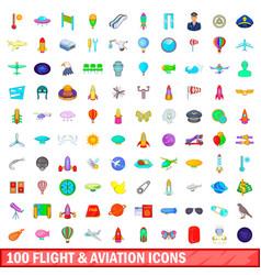 100 flight and aviation icons set cartoon style vector