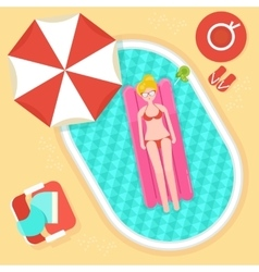 Girl on swimming mattress vector