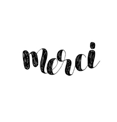 Merci brush lettering vector
