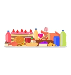Heap colorful harmful unhealthy fast food vector
