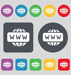 Www icon sign a set of 12 colored buttons flat vector