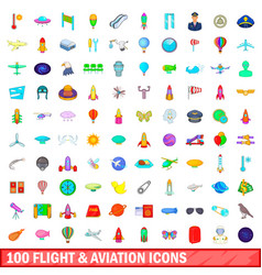 100 flight and aviation icons set cartoon style vector image