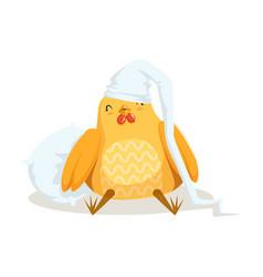 Funny cartoon chick bird sleeping in his bed vector