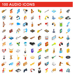 100 audio icons set isometric 3d style vector