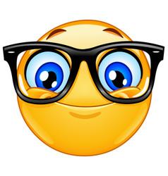 Emoticon with eyeglasses vector
