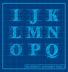 Blueprint style alphabet set 2 vector