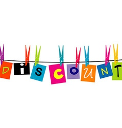 The word Discount hanging on a rope vector image