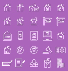 Real estate line icons on violet background vector