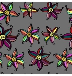 Seamless doodle flower background vector