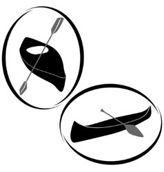 Badges with canoes and kayaks vector