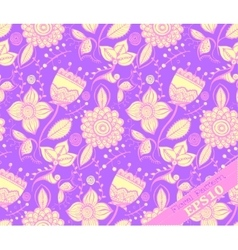 Repeating floral pattern purple and yellow vector