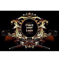 ornamental shield with guns vector image