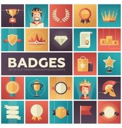 Badges ribbons awards icons set vector image