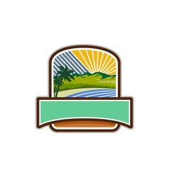 Tropical trees mountains sea coast crest retro vector