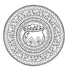 Saint patrick day theme mandala with irish pot of vector