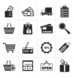 Black shopping and website icons vector