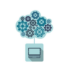 blue laptop with gears cloud vector image vector image