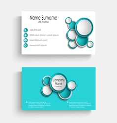 Business card with blue abstract circles template vector