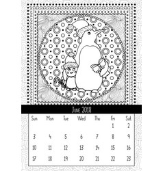 christmas penguin with gift calendar june 2018 vector image
