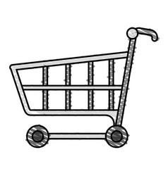 Color crayon stripe image cartoon shopping cart vector