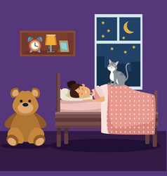 colorful scene girl sleep with blanket in bedroom vector image
