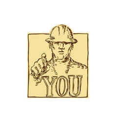 Construction worker pointing you etching vector