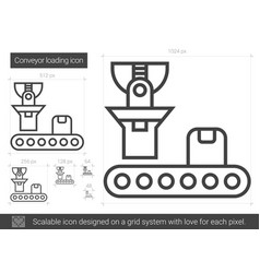 Conveyor loading line icon vector