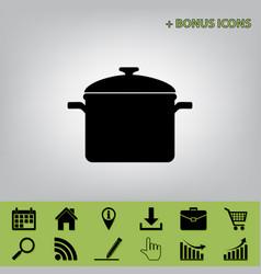 Cooking pan sign black icon at gray vector