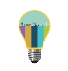 Energy concept Bulb with industry plants Power vector image vector image