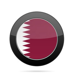 Flag of qatar shiny black round button vector