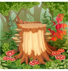Forest glade with stump surrounded by toadstools vector