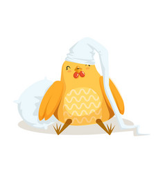 Funny cartoon chick bird sleeping in his bed vector